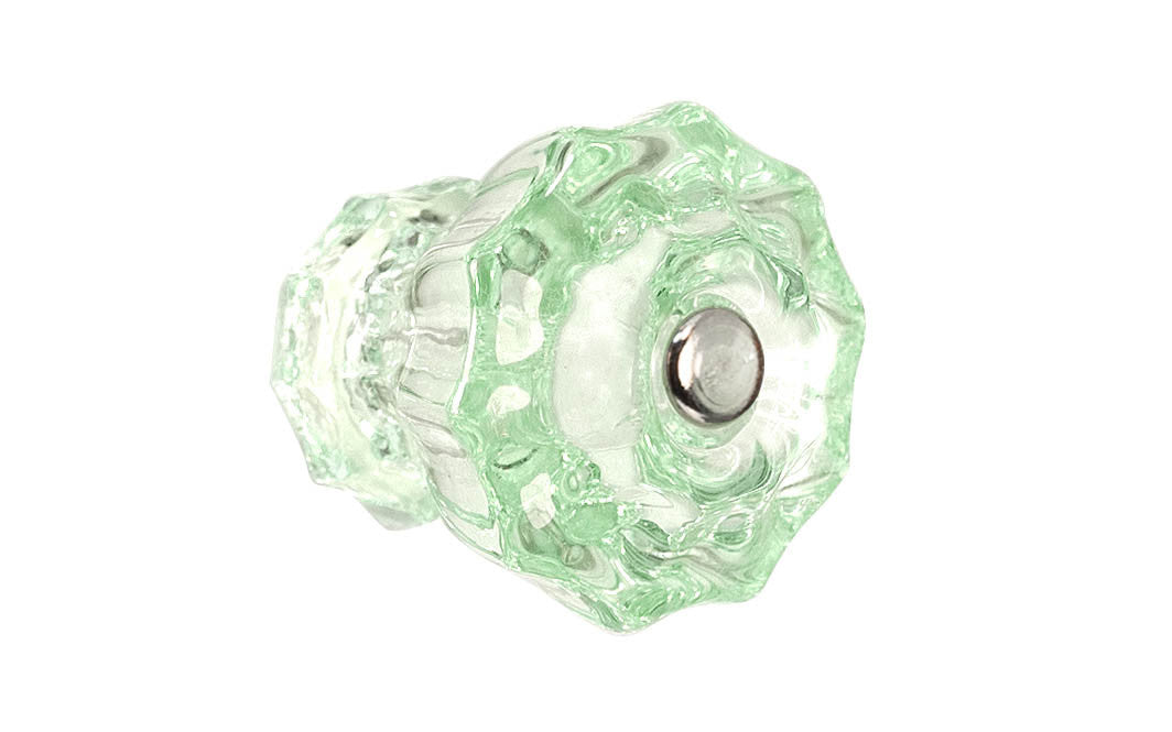 Fluted Glass Knob ~ Depression Green ~ 1-1/2