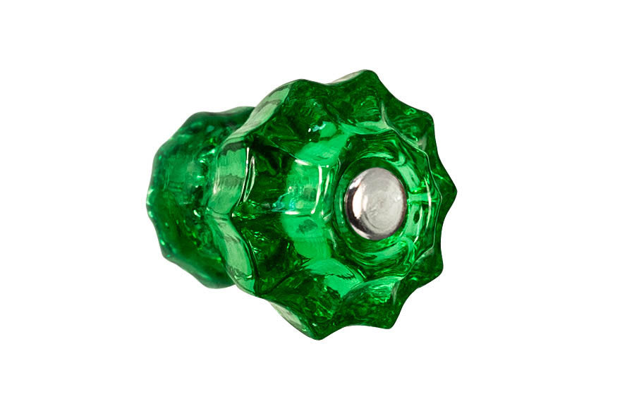 Fluted Glass Knob ~ Forest Green ~ 1-1/4