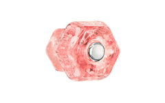 "Classic Hexagonal Glass Knob ~ Depression Pink - Rose ~ 1-1/4"" Diameter"