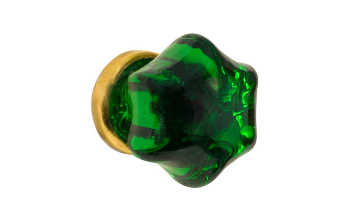 Star-Shaped Glass Knob ~ Forest Green ~ 1-1/4