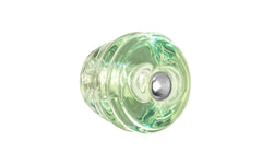 """Beehive"" Style Glass Knob ~ Depression Green - Light Green - Art Deco ~ 1-1/8"" Diameter - Round Glass Cabinet Knob with Nickel Bolt - Art-Deco - Cabinet Hardware - Cabinet Knobs - Drawer Knobs - Bee Hive"