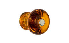 "Round Glass Knob ~ Amber ~ 1-1/8"" Diameter"