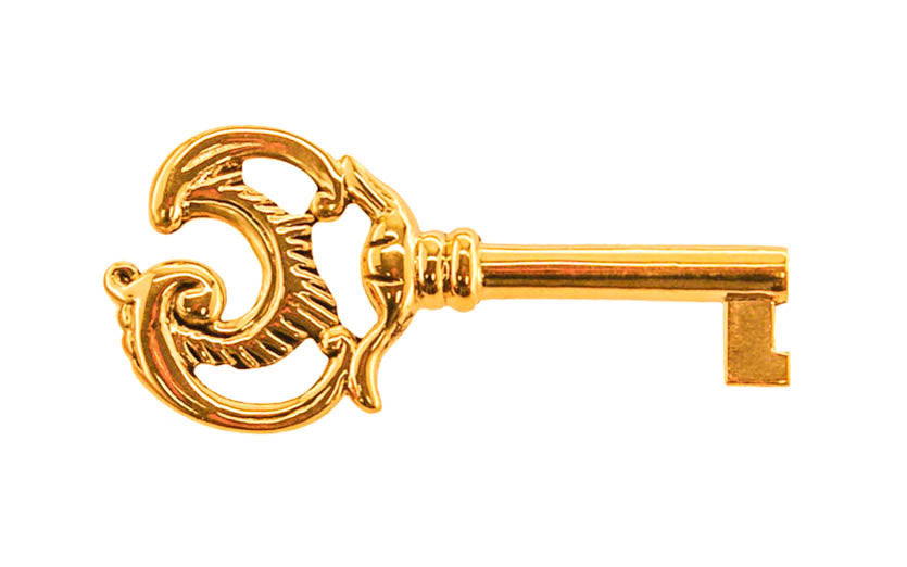 Solid Brass Ornate Skeleton Key ~ 1/4