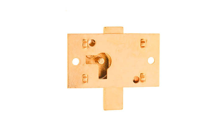 Surface Cabinet Lock ~ Brass Finish ~ Vertical View for use on Drawers