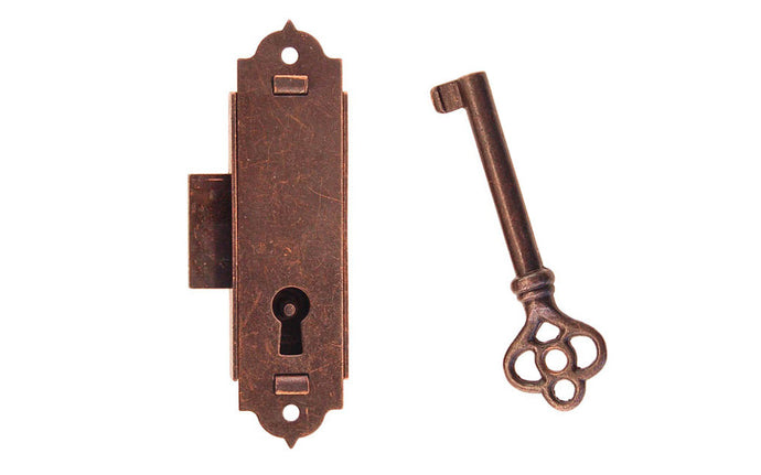 Narrow Surface Cabinet Lock ~ Antique Copper Finish