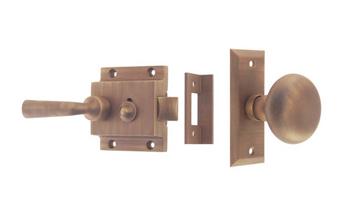Brass Screen Door Latch With Lever ~ Antique Brass Finish