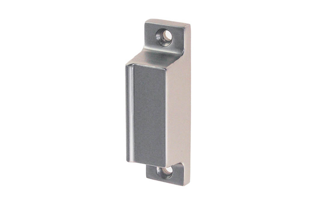Solid Brass Box Strike for Screen Door Latch ~ Brushed Nickel Finish