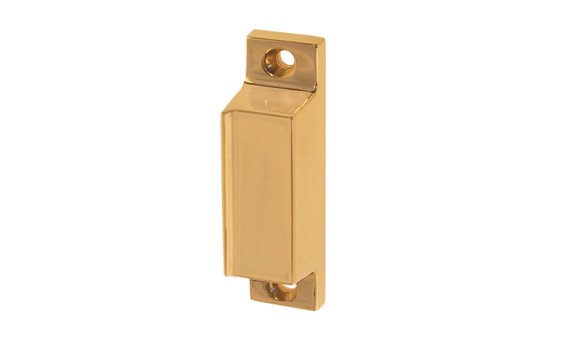 Solid Brass Box Strike for Screen Door Latch ~ Lacquered Brass Finish