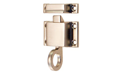 "Solid Brass Transom Window Latch ~ 1-7/8"" x 1-1/8"" ~ Brushed Nickel Finish"