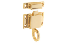 "Solid Brass Transom Window Latch ~ 1-7/8"" x 1-1/8"" ~ Lacquered Brass Finish"