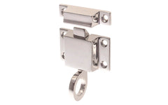 "Solid Brass Transom Window Latch ~ 1-7/8"" x 1-1/8"" ~ Polished Nickel Finish"