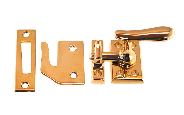 Vintage Solid Brass in Polished Brass gold color Casement Window Latch Lock to lock windows