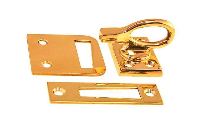 Solid Brass Ring Handle Casement Window Latch ~ Locks & tightens window frames or small doors - 1-9/16