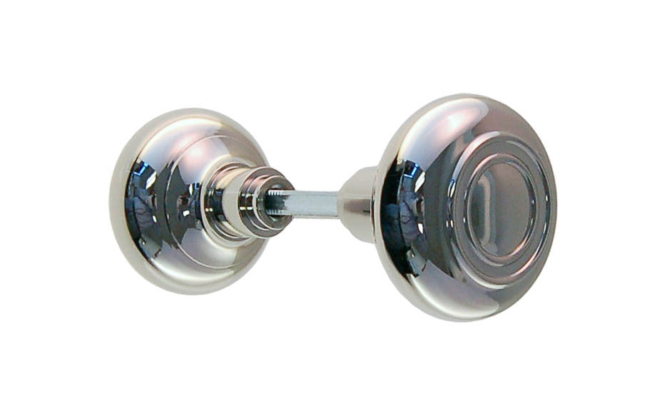 Brass Circle-Ring Design Doorknob ~ Polished Nickel Finish