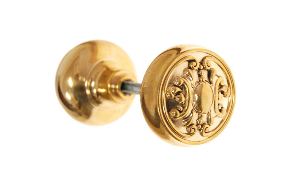 Solid Brass Core Ornate Doorknob ~ Non-Lacquered Brass (will patina naturally over time)