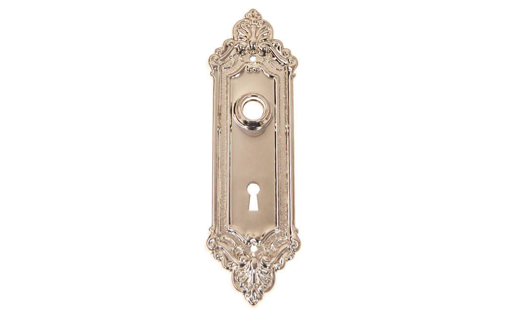 Ornate Brass Escutcheon Door Plate with Keyhole ~ Polished Nickel Finish