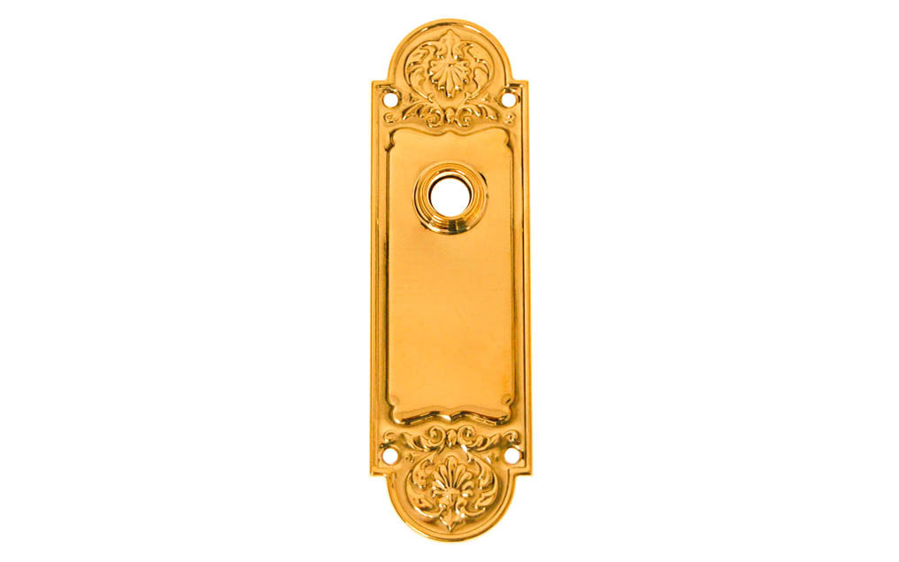 Ornate Brass Escutcheon Door Plate ~ Lacquered Brass Finish