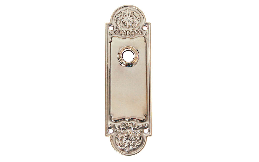 Ornate Brass Escutcheon Door Plate ~ Polished Nickel Finish