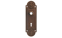 Ornate Brass Escutcheon Door Plate with Keyhole ~ Oil Rubbed Bronze Finish