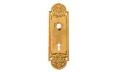 Ornate Brass Escutcheon Door Plate with Keyhole ~ Non-Lacquered Brass (will patina over time)