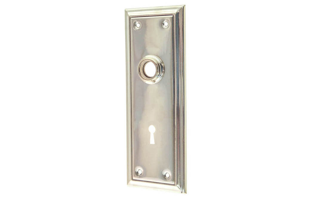 Brass Escutcheon Door Plate with Keyhole ~ Polished Nickel Finish