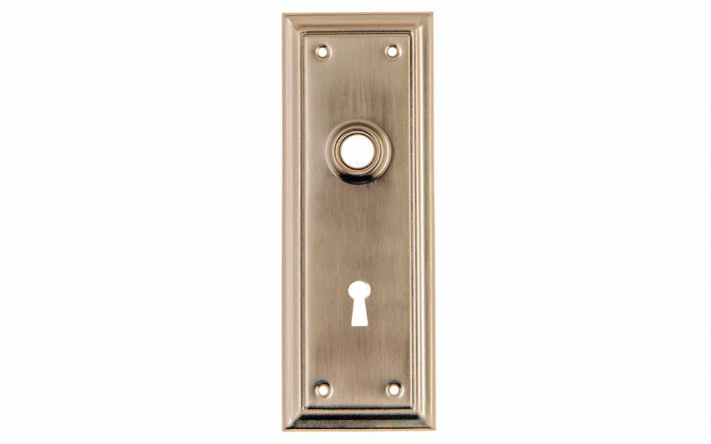 Brass Escutcheon Door Plate with Keyhole ~ Brushed Nickel Finish