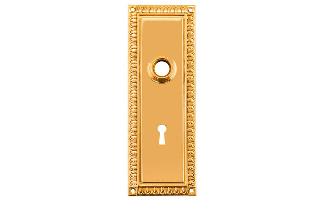 Ornate Brass Escutcheon Door Plate with Keyhole ~ Non-Lacquered Brass (will patina naturally over time)