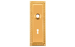 Ornate Brass Escutcheon Door Plate with Keyhole ~ Lacquered Brass Finish