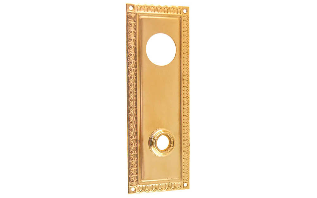 Brass Escutcheon Keyway Cylinder Door Plate ~ Non-Lacquered Brass (will patina over time)