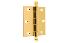 "Classic Ball-Tip Door Hinge ~ 3"" x 3"" ~ Lacquered Brass Finish"