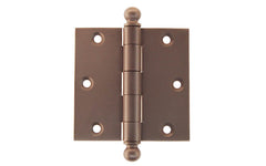 "Classic Ball-Tip Door Hinges ~ 3-1/2"" x 3-1/2"" ~ Oil Rubbed Bronze Finish"