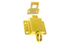 "Solid Brass Transom Window Latch ~ 2-1/8"" x 1-1/2"" ~ Non-Lacquered Brass (will patina naturally over time)"