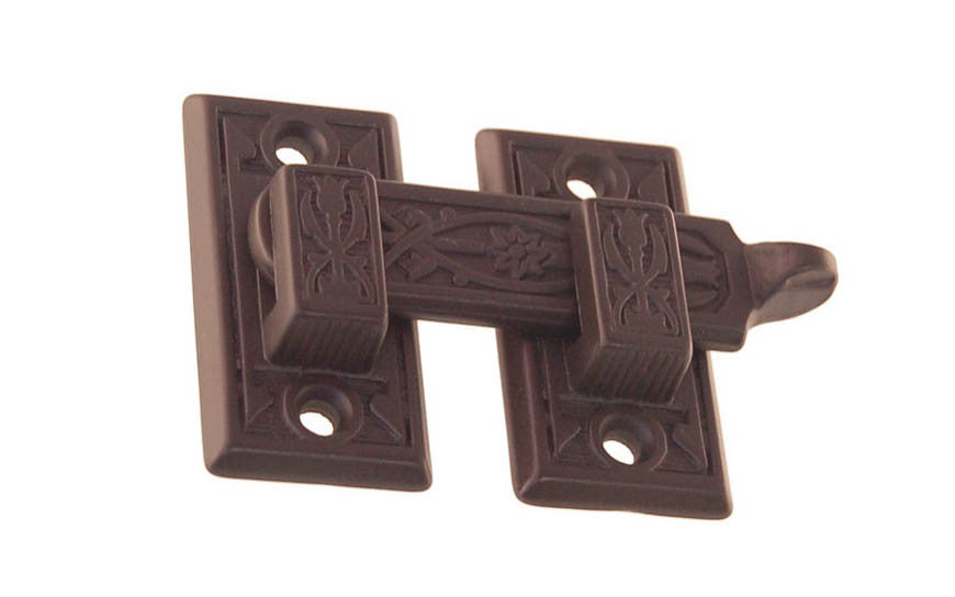 Solid Brass Ornate Shutter Bar - Latch for Shutters - Shutter Latch - Cabinet Bar - Cabinet Latch with Handle - Brass - 8815 - Victorian Interior Shutter Bar - Ornate Design - Detailed - Oil Rubbed Bronze Finish