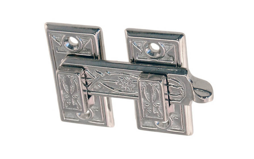 Solid Brass Ornate Shutter Bar ~ Polished Nickel Finish - Latch for Shutters - Shutter Latch - Cabinet Bar - Cabinet Latch with Handle - Brass - 8815 - Victorian Interior Shutter Bar - Ornate Design - Detailed