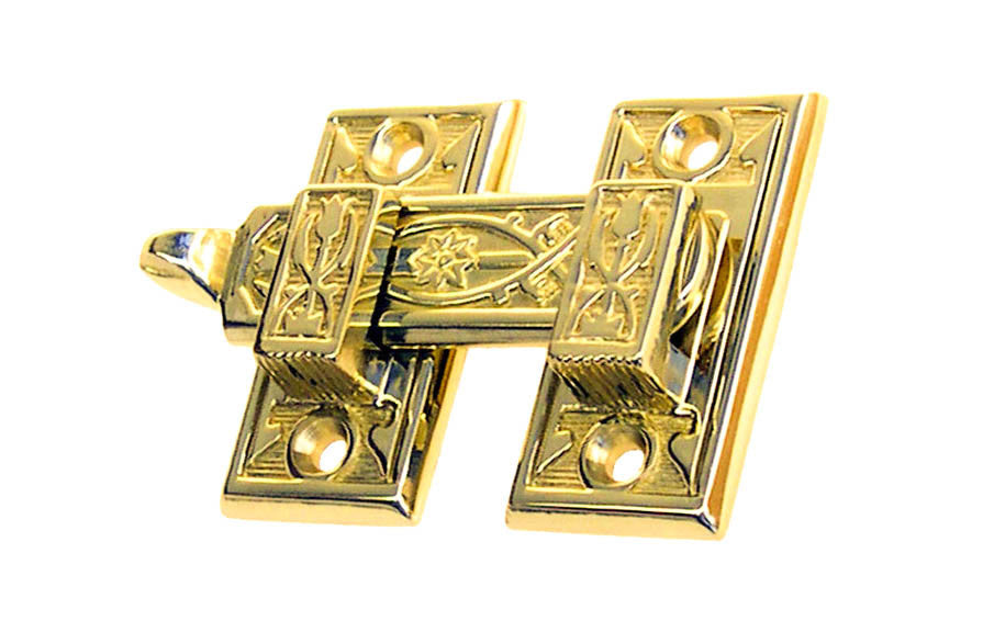 Solid Brass Ornate Shutter Bar - Latch for Shutters - Shutter Latch - Cabinet Bar - Cabinet Latch with Handle - Brass - 8815 - Victorian Interior Shutter Bar - Ornate Design - Detailed ~ Lacquered Brass Finish