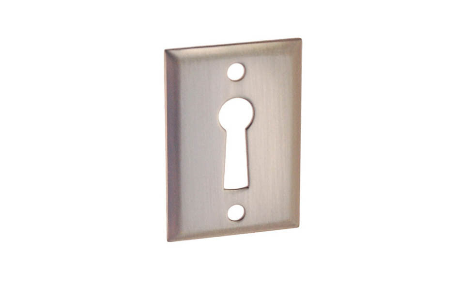 Classic Brass Rectangle Keyhole ~ Brushed Nickel Finish
