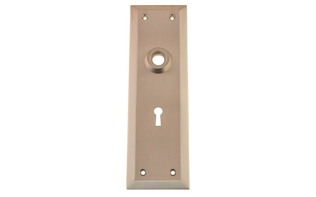 Solid Brass Escutcheon Door Plate with Keyhole ~ Brushed Nickel Finish