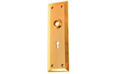 Solid Brass Escutcheon Door Plate with Keyhole ~ Lacquered Brass Finish