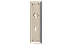 Solid Brass Escutcheon Door Plate with Keyhole ~ Polished Nickel Finish
