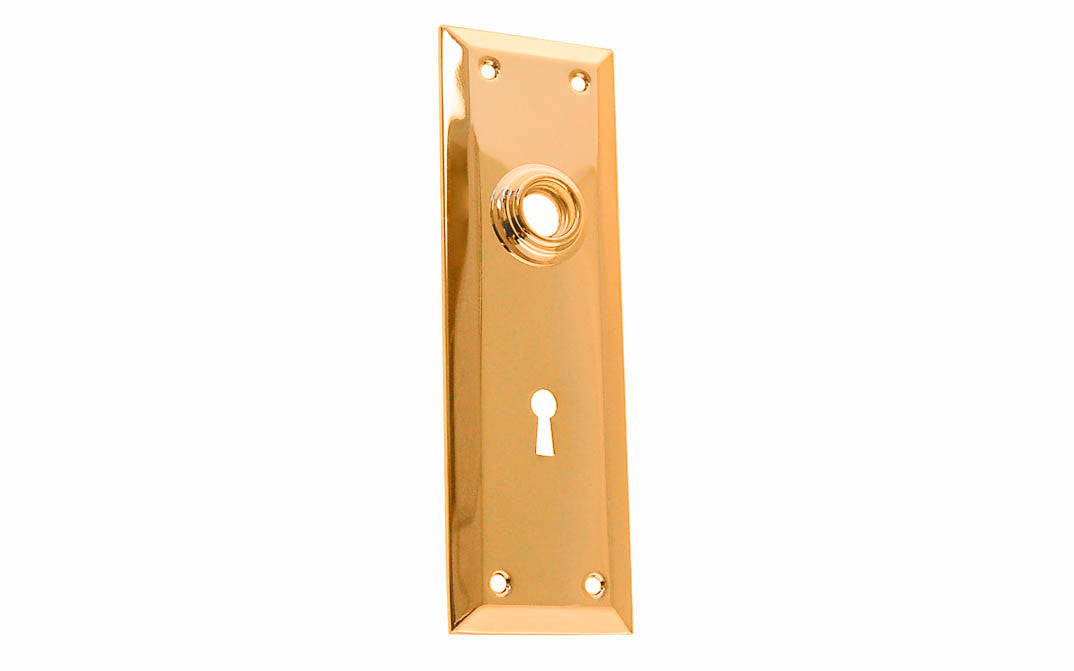 Brass Escutcheon Door Plate with Keyhole ~ Lacquered Brass Finish
