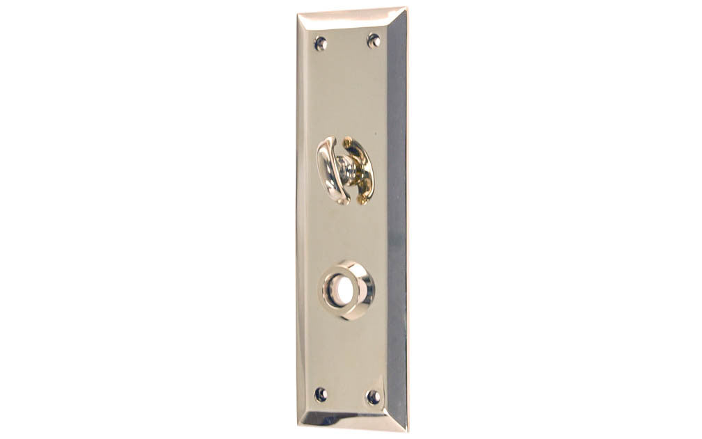 Solid Brass Escutcheon Door Plate with Thumb Turn ~ Polished Nickel Finish