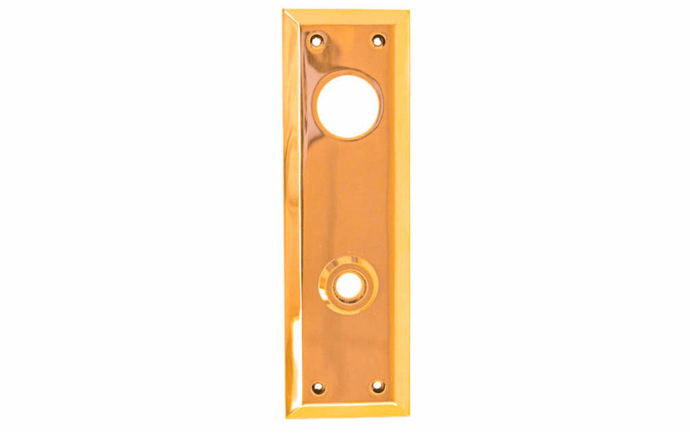 Solid Brass Escutcheon Keyway Cylinder Door Plate ~ Lacquered Brass Finish