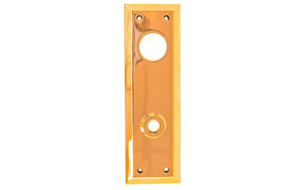 Solid Brass Escutcheon Keyway Cylinder Door Plate ~ Non-Lacquered Brass (will patina naturally over time)