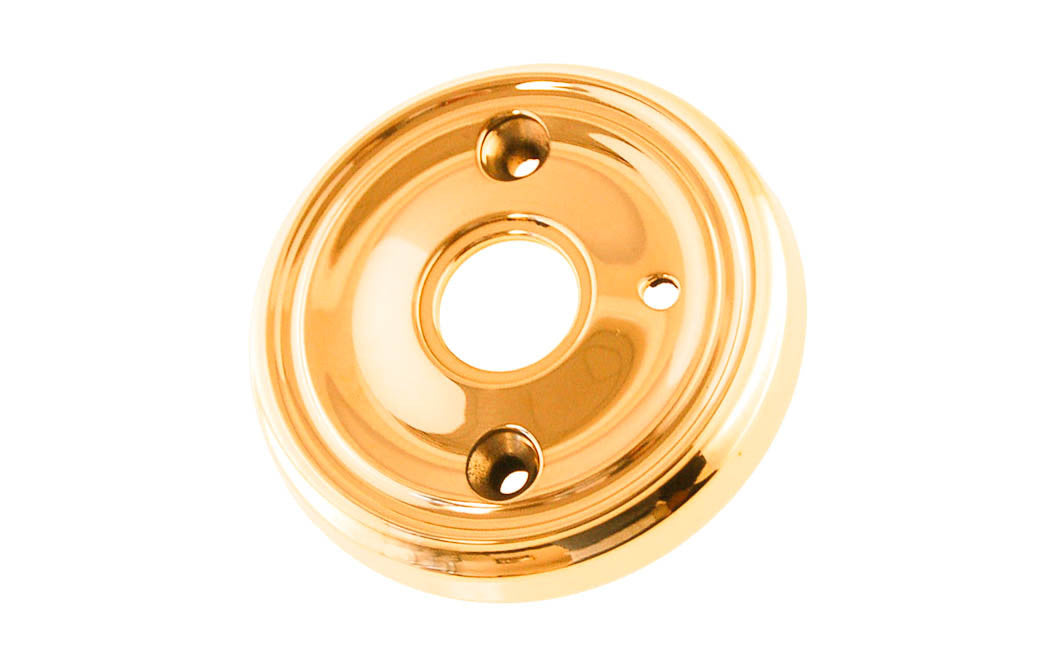 Classic Solid Brass Rosette ~ Privacy (Locking) ~ Non-Lacquered Brass (will patina naturally over time)
