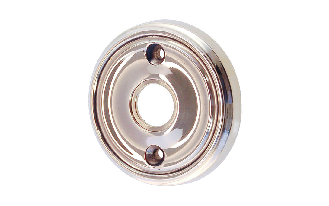 Classic Solid Brass Rosette ~ Passage (Non-Locking) ~ Polished Nickel Finish