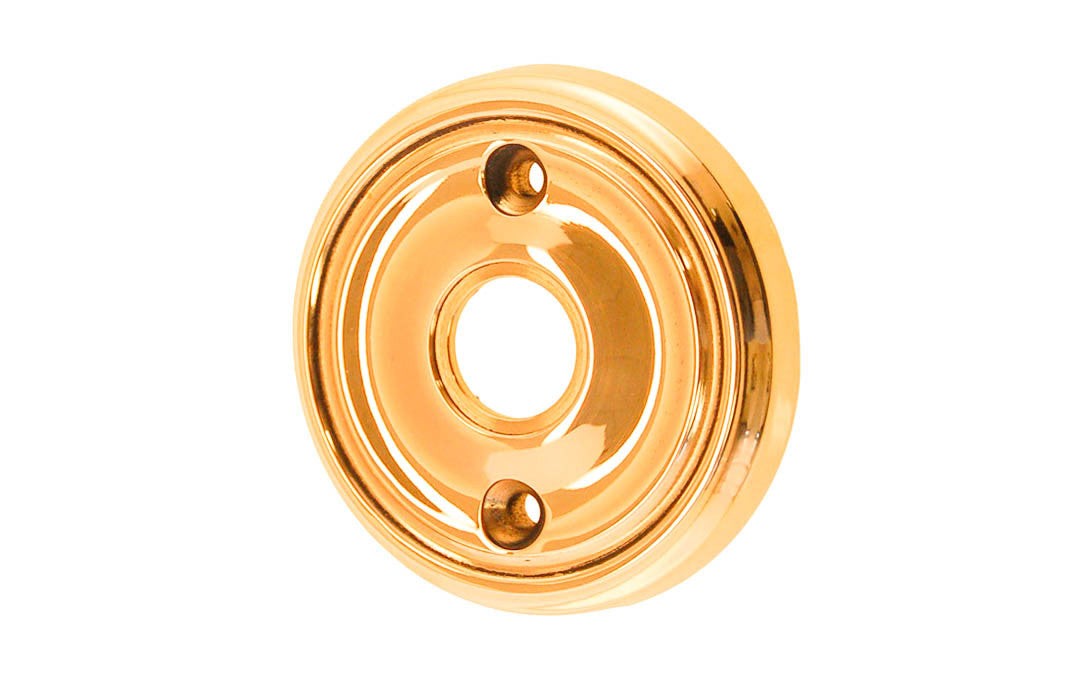 Classic Solid Brass Rosette ~ Passage (Non-Locking) ~ Non-Lacquered Brass (will patina naturally over time)