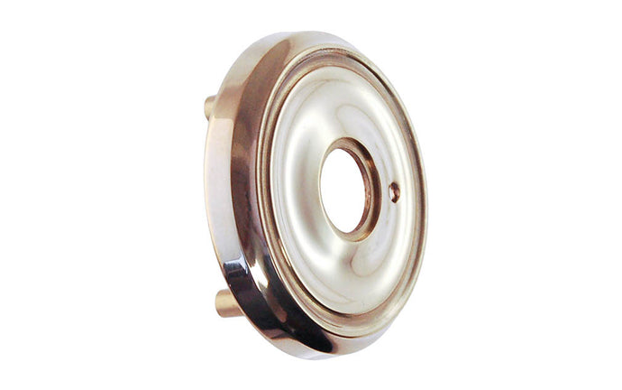 Classic Solid Brass Rosette with Threaded Shanks ~ Privacy (Locking) ~ Polished Nickel Finish