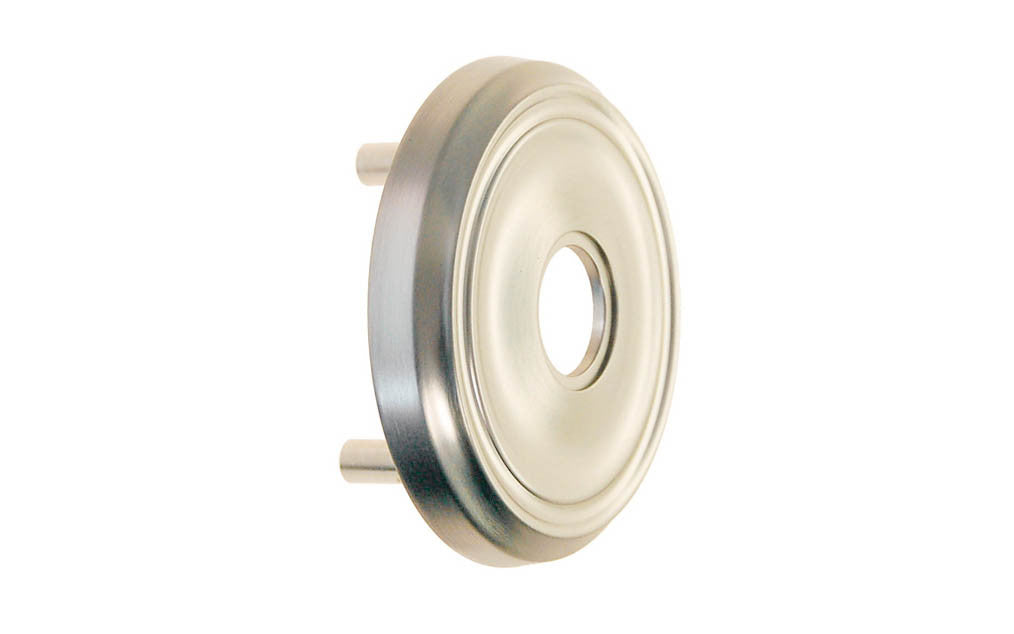 Classic Solid Brass Rosette with Threaded Shanks ~ Passage (Non-Locking) ~ Brushed Nickel Finish