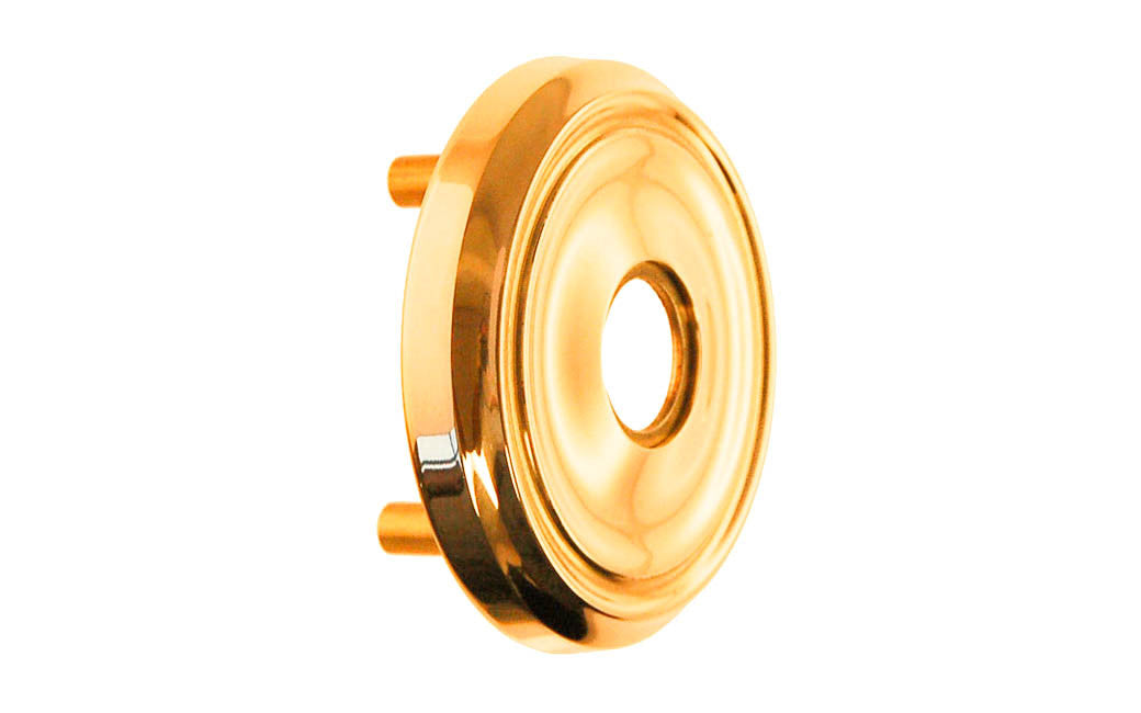 Classic Solid Brass Rosette with Threaded Shanks ~ Passage (Non-Locking) ~ Lacquered Brass Finish
