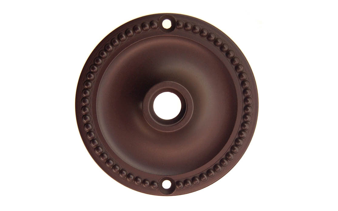 Solid Brass Beaded Rosette ~ Passage (Non-Locking) ~ Oil Rubbed Bronze Finish